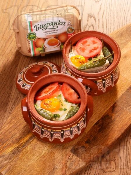Сирене по шопски с яйца Багрянка - традиционна рецепта в гювече - снимка на рецептата